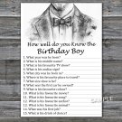Bow Tie How well do you know the birthday boy,Adult Birthday Game,INSTANT DOWNLOAD--46