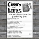 Cheers and Beers How well do you know the birthday boy,Adult Birthday Game,INSTANT DOWNLOAD--47