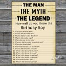 The man The myth The legend How well do you know the birthday boy,INSTANT DOWNLOAD--48