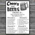 Cheers and Beers DRINK IF birthday game,Adult Birthday Game,INSTANT DOWNLOAD--47