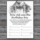 Bow Tie HOW OLD WAS THE birthday boy,Adult Birthday Game,INSTANT DOWNLOAD--46