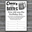 Cheers and Beers HOW OLD WAS THE birthday boy,Adult Birthday Game,INSTANT DOWNLOAD--47