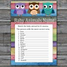 Owl Baby Animals Name Game,Owl Baby shower games,Woodland baby shower,INSTANT DOWNLOAD-385