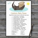Otter Celebrity Baby Name Game,Otter Baby shower games,INSTANT DOWNLOAD--380