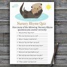 Otter Nursery Rhyme Quiz Game,Otter Baby shower games,INSTANT DOWNLOAD--380