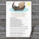 Otter How Well Do You Know Game,Otter Baby shower games,INSTANT DOWNLOAD--380
