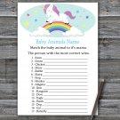 Unicorn Baby Animals Name Game,Unicorn Baby shower games,Rainbow baby shower,INSTANT DOWNLOAD--379