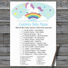 Unicorn Celebrity Baby Name Game,Unicorn Baby shower games,Rainbow baby shower,INSTANT DOWNLOAD--379
