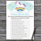 Unicorn Nursery Rhyme Quiz Game,Unicorn Baby shower games,Rainbow baby shower,INSTANT DOWNLOAD--379