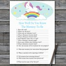Unicorn How Well Do You Know Game,Unicorn Baby shower games,INSTANT DOWNLOAD--379