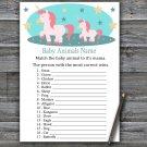 Unicorn Baby Animals Name Game,Unicorn Baby shower games,Rainbow baby shower,INSTANT DOWNLOAD--378