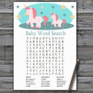 Unicorn Baby Shower Word Search Game,Unicorn Baby shower games,INSTANT DOWNLOAD--378