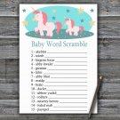 Unicorn Baby Word Scramble Game,Unicorn Baby shower games,Rainbow baby shower,INSTANT DOWNLOAD--378