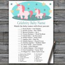 Unicorn Celebrity Baby Name Game,Unicorn Baby shower games,Rainbow baby shower,INSTANT DOWNLOAD--378