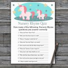 Unicorn Nursery Rhyme Quiz Game,Unicorn Baby shower games,Rainbow baby shower,INSTANT DOWNLOAD--378