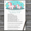 Unicorn How Well Do You Know Game,Unicorn Baby shower games,INSTANT DOWNLOAD--378