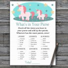 Unicorn What's In Your Purse Game,Unicorn Baby shower games,INSTANT DOWNLOAD--378