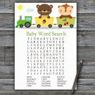 Animal train Baby Shower Word Search Game,Animal train Baby shower games,INSTANT DOWNLOAD--377