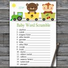 Animal train Baby Word Scramble Game,Animal train Baby shower games,INSTANT DOWNLOAD--377
