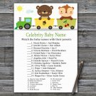 Animal train Celebrity Baby Name Game,Animal train Baby shower games,INSTANT DOWNLOAD--377