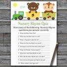 Animal train Nursery Rhyme Quiz Game,Animal train Baby shower games,INSTANT DOWNLOAD--377