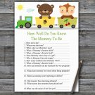Animal train How Well Do You Know Game,Animal train Baby shower games,INSTANT DOWNLOAD--377