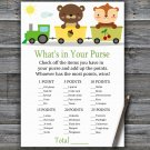 Animal train What's In Your Purse Game,Animal train Baby shower games,INSTANT DOWNLOAD--377