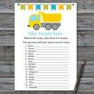 Dump truck Baby Animals Name Game,Dump truck Baby shower games,INSTANT DOWNLOAD--376