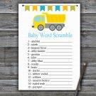 Dump truck Baby Word Scramble Game,Dump truck Baby shower games,INSTANT DOWNLOAD--376