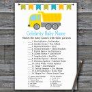 Dump truck Celebrity Baby Name Game,Dump truck Baby shower games,INSTANT DOWNLOAD--376