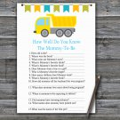 Dump truck How Well Do You Know Game,Dump truck Baby shower games,INSTANT DOWNLOAD--376