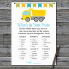 Dump truck What's In Your Purse Game,Dump truck Baby shower games,INSTANT DOWNLOAD--376