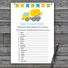 Concrete mixer Baby Animals Name Game,Concrete mixer Baby shower games,INSTANT DOWNLOAD--375
