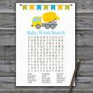 Concrete mixer Baby Shower Word Search Game,Concrete mixer Baby shower games,INSTANT DOWNLOAD--375