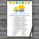Concrete mixer Celebrity Baby Name Game,Concrete mixer Baby shower games,INSTANT DOWNLOAD--375