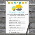 Concrete mixer Nursery Rhyme Quiz Game,Concrete mixer Baby shower games,INSTANT DOWNLOAD--375