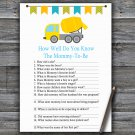 Concrete mixer How Well Do You Know Game,Concrete mixer Baby shower games,INSTANT DOWNLOAD--375