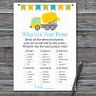 Concrete mixer What's In Your Purse Game,Concrete mixer Baby shower games,INSTANT DOWNLOAD--375