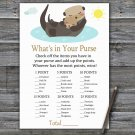 Otter What's In Your Purse Game,Otter Baby shower games,INSTANT DOWNLOAD--380