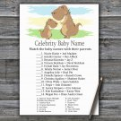 Dinosaur Celebrity Baby Name Game,T-Rex Baby shower games,INSTANT DOWNLOAD--369