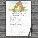 Dinosaur How Well Do You Know Game,T-Rex Baby shower games,INSTANT DOWNLOAD--369