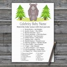 Bear Celebrity Baby Name Game,Bear Baby shower games,INSTANT DOWNLOAD--368