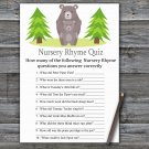 Bear Nursery Rhyme Quiz Game,Bear Baby shower games,INSTANT DOWNLOAD--368