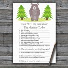 Bear How Well Do You Know Game,Bear Baby shower games,INSTANT DOWNLOAD--368