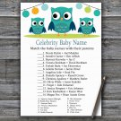 Owl Celebrity Baby Name Game,Owl Baby shower games,INSTANT DOWNLOAD--367