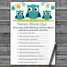 Owl Nursery Rhyme Quiz Game,Owl Baby shower games,INSTANT DOWNLOAD--367