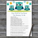 Owl How Well Do You Know Game,Owl Baby shower games,INSTANT DOWNLOAD--367