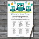 Owl What's In Your Purse Game,Owl Baby shower games,INSTANT DOWNLOAD--367