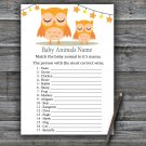 Orange Owl Baby Animals Name Game,Orange Owl Baby shower games,INSTANT DOWNLOAD--366