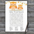 Orange Owl Baby Shower Word Search Game,Orange Owl Baby shower games,INSTANT DOWNLOAD--366